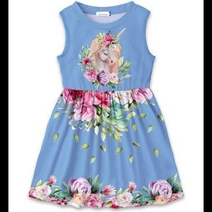 🦄 Blue Floral Unicorn A-Line Girls Dress 🦄